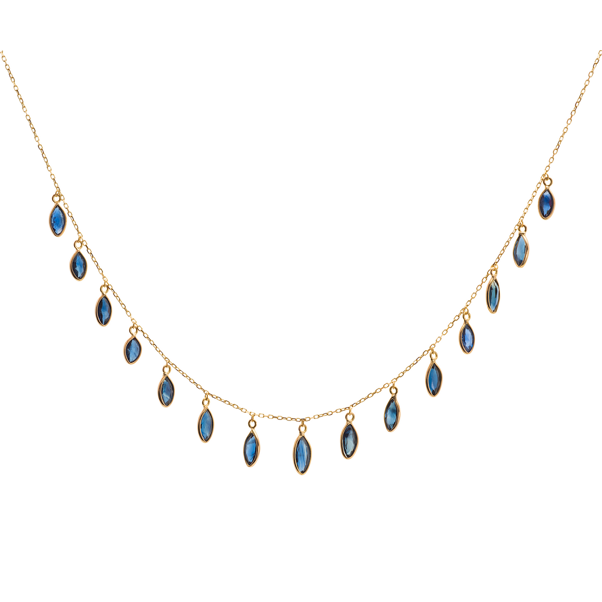 Blue Sapphire Marquise Necklace In 18k Yellow Gold