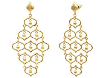 Trellis Gold Earrings, Large with Drops, Chandelier with No Stone