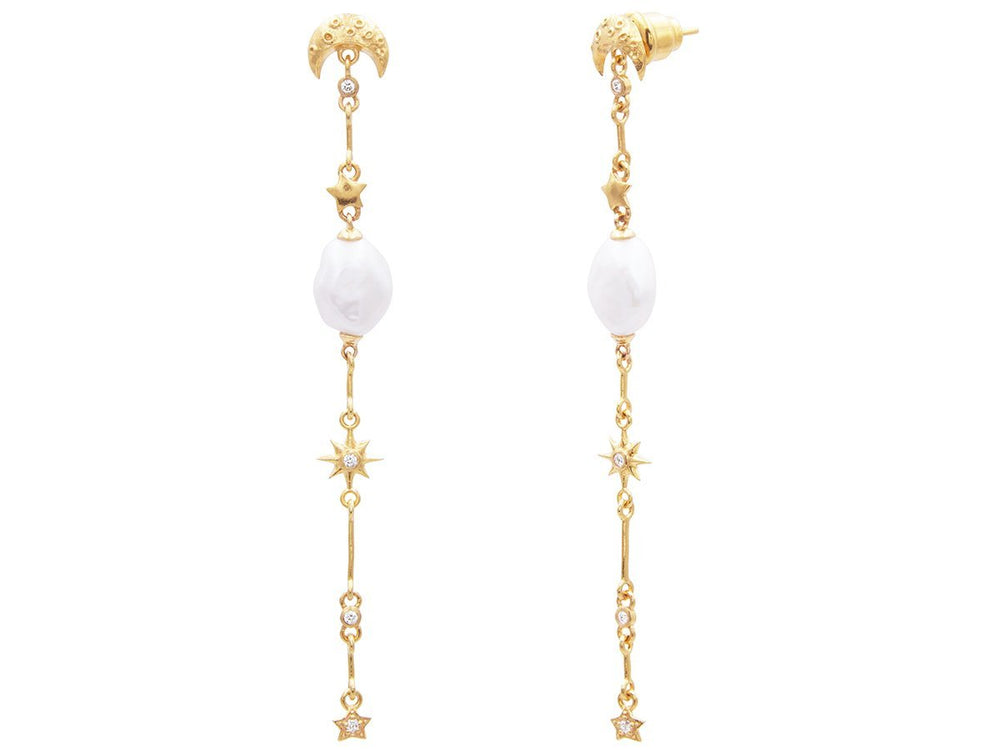 Luna Gold Earrings, Long, Stiletto with Pearl