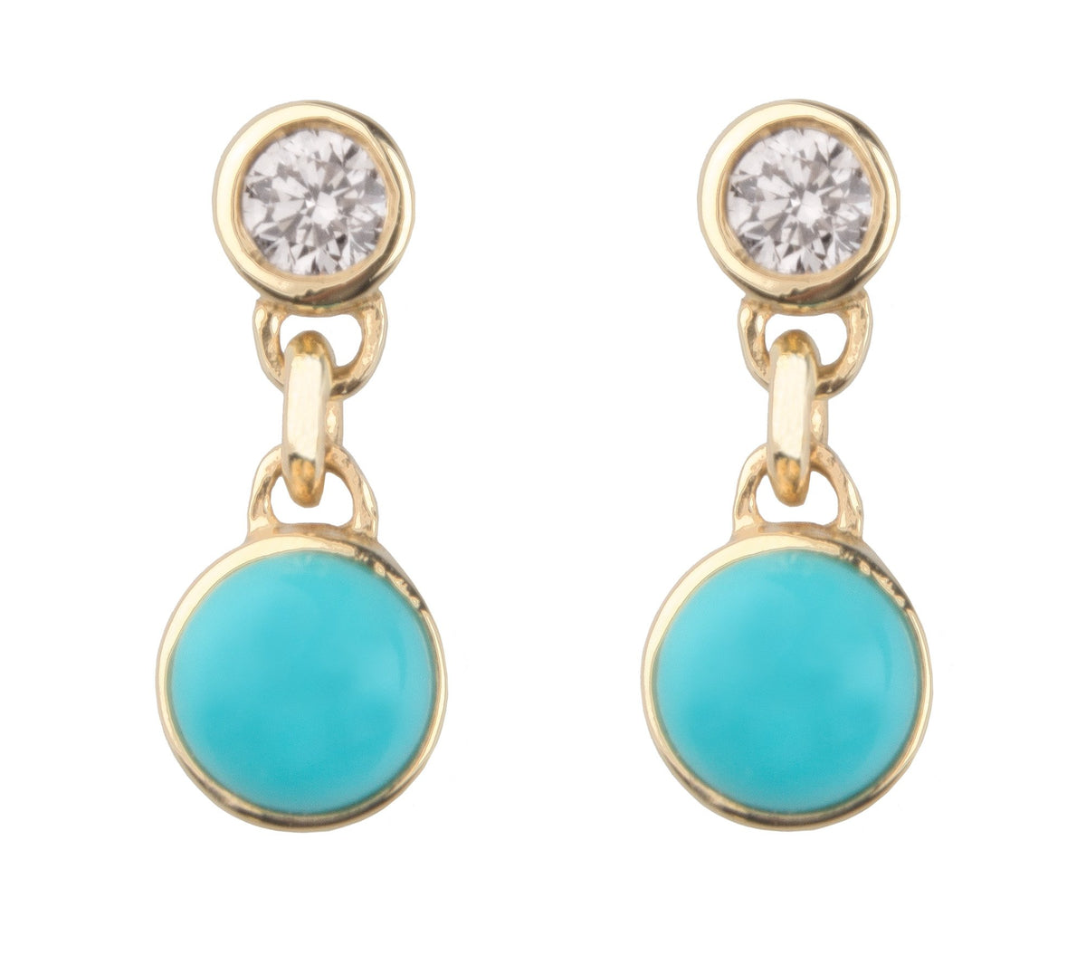 GRANDMOTHER'S DIAMOND & TURQUOISE BONBON STUD EARRINGS