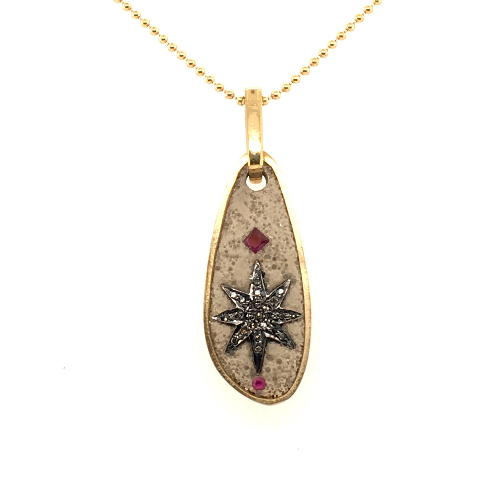 Diamond Star and Ruby Pendant