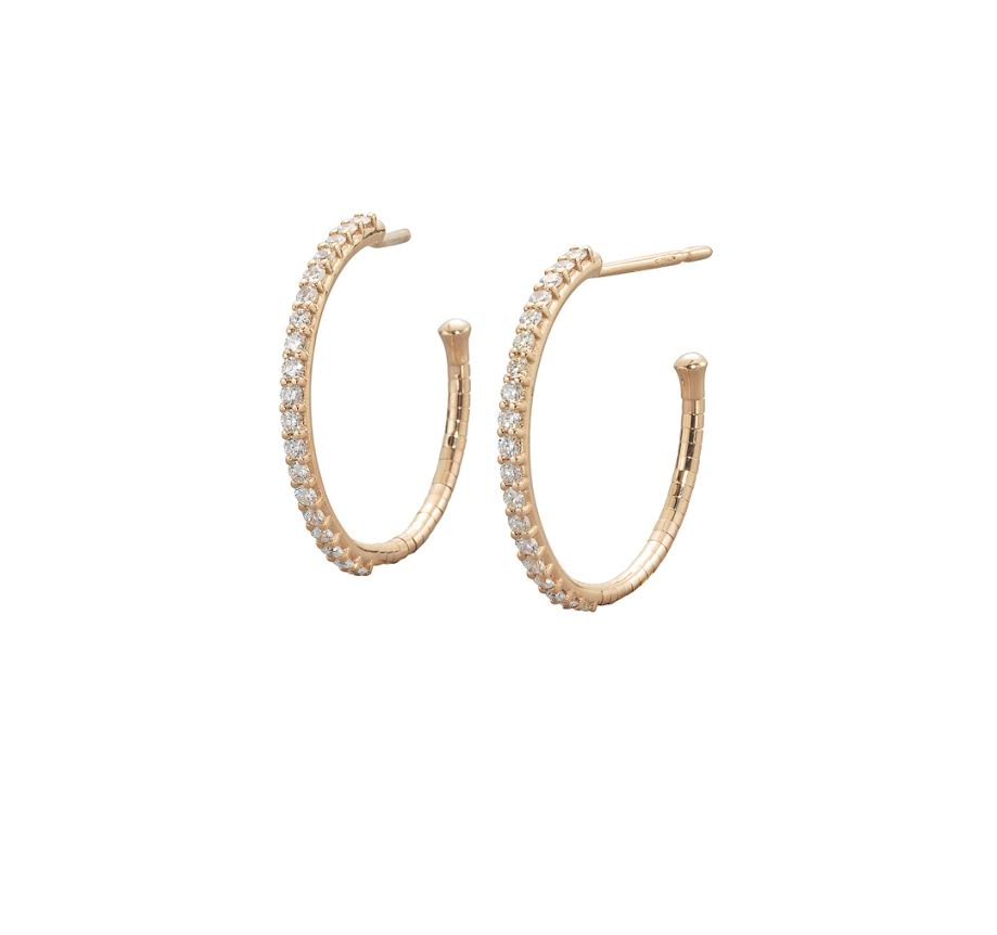 Gold And Diamond Small Hoop Earrings