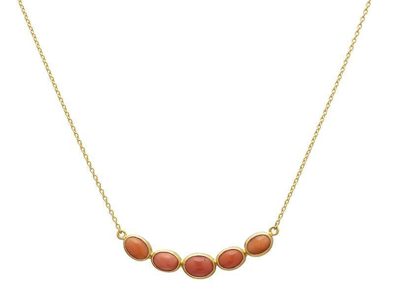 One-of-a-Kind Pointelle Gold Necklace, Bar with Coral