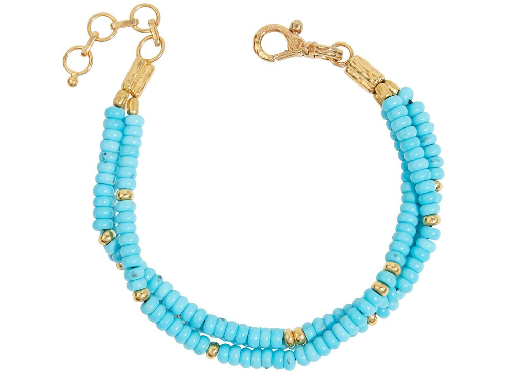 One-of-a-Kind Flurries Gold Bracelet, Multi-Strand with Turquoise