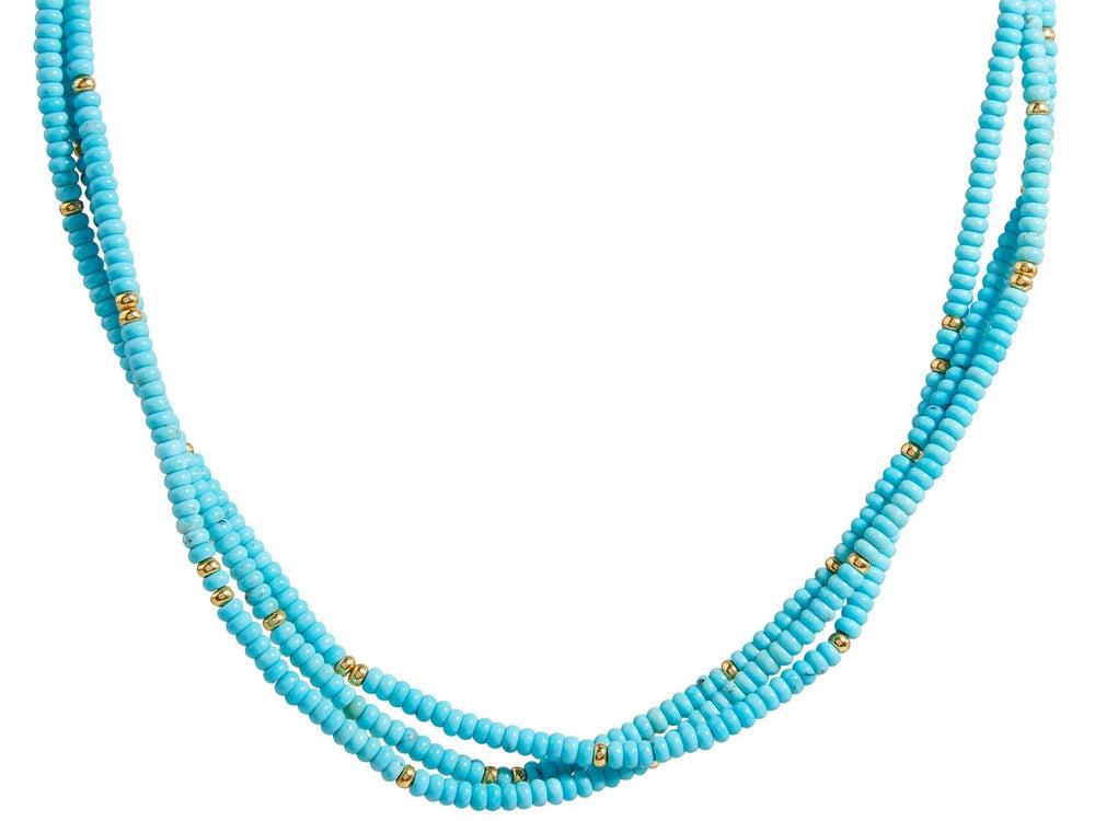 One-of-a-Kind Flurries Gold Necklace, Multi-Strand with Turquoise