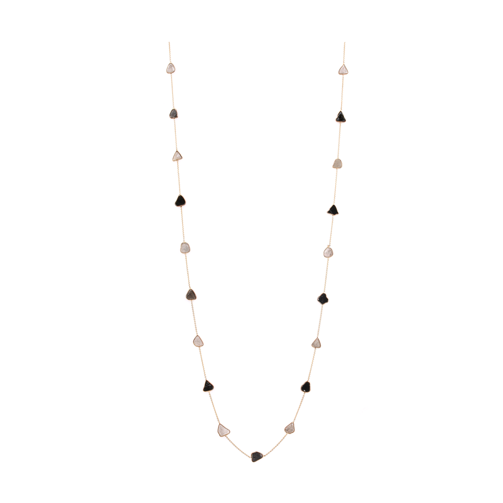 Organica White and Black Diamond Slice Long Necklace