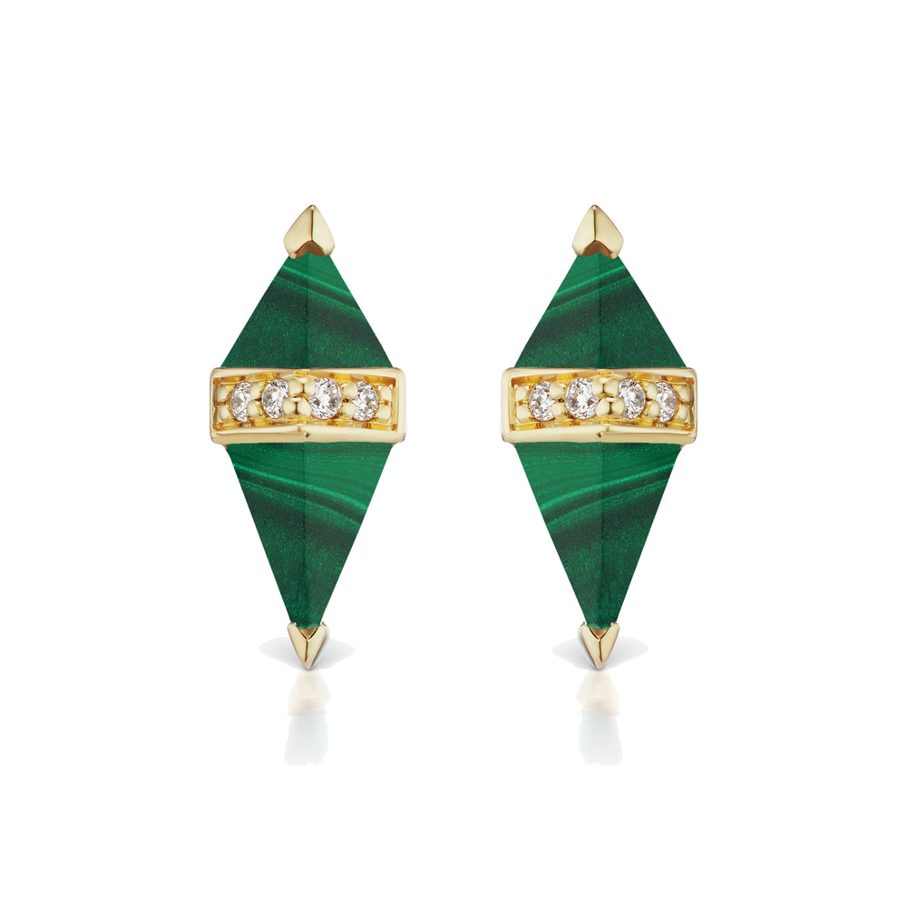 Pietra Studs - Malachite/Diamond