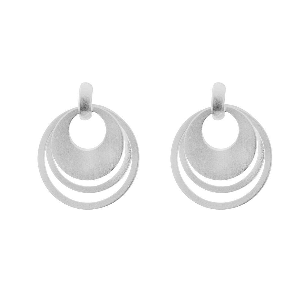 Disc and Silver Interlock Circle Earrings