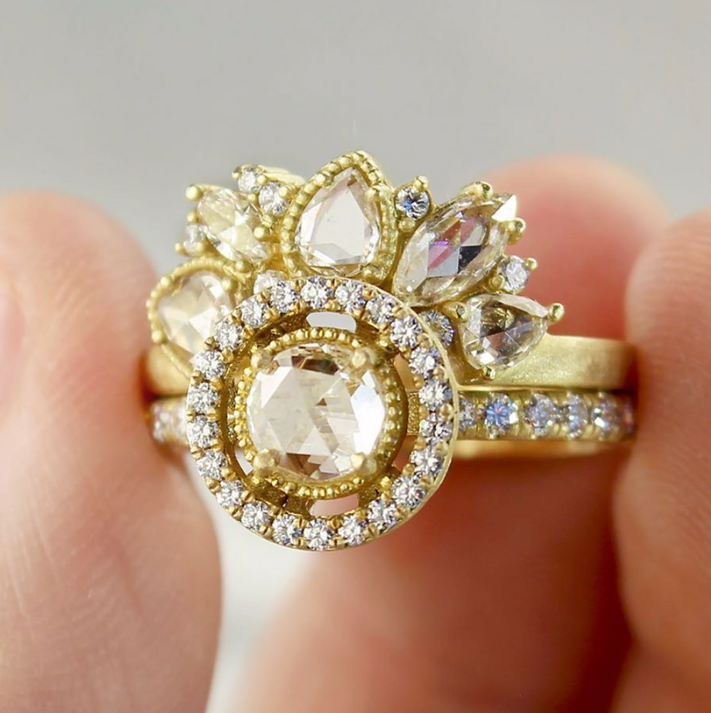 SIGNATURE ROSE CUT HALO RING WITH DIAMOND BAND