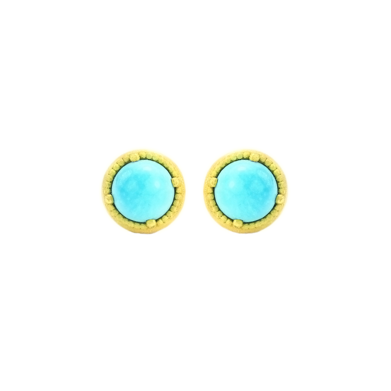 SIGNATURE BEADED BEZEL STUD EARRINGS