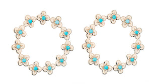 TURQUOISE JEWELED BLOOM ETERNITY STUD EARRINGS