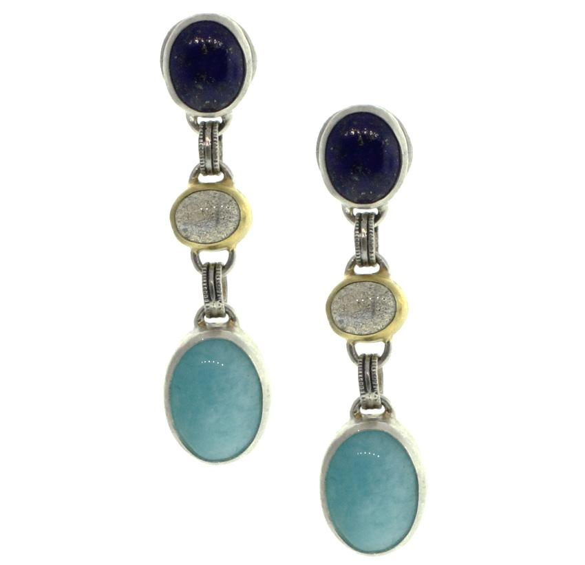 Galapagos Blue Tri-Stone Earrings