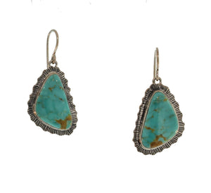 KINGMAN TURQUOISE DANGLE EARRINGS WITH SCALLOPED EDGE