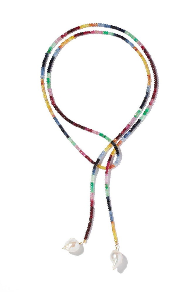 Ruby, Emerald and Sapphire Classic Gemstone Lariat