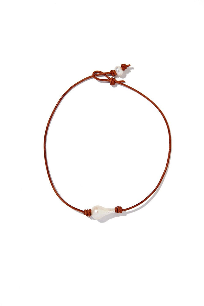 Single Baroque Pearl and Leather Choker