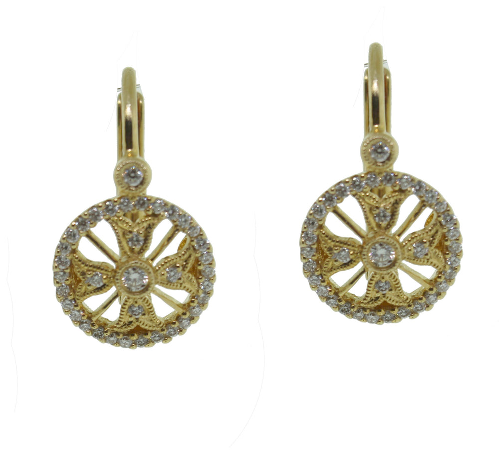 PIERCED CIRCLE PAVE DIAMOND EARRINGS