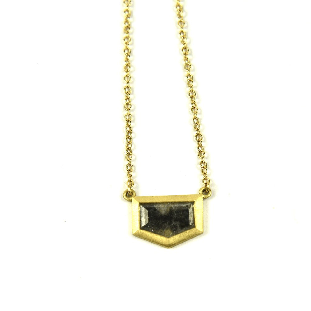 Black Diamond Corner Bezel Necklace