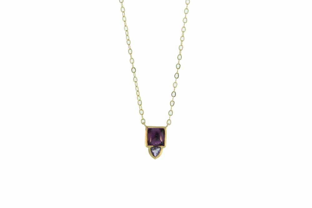 Lacey Gold Necklace Amethyst and Iollite