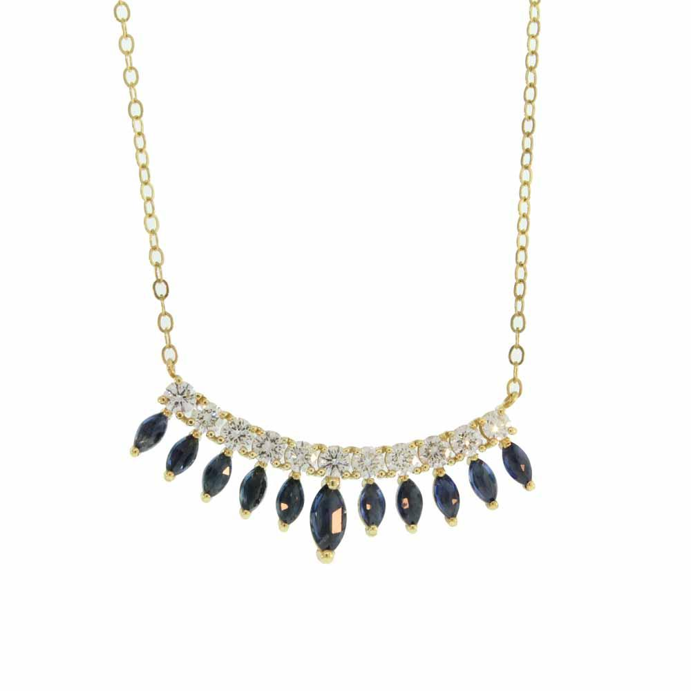 Liam Gold and Blue Sapphire Necklace