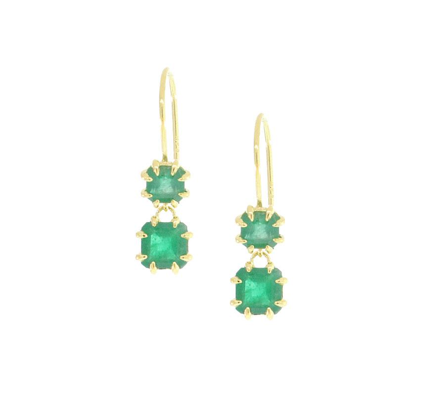 Two Drop Emerald Earrings