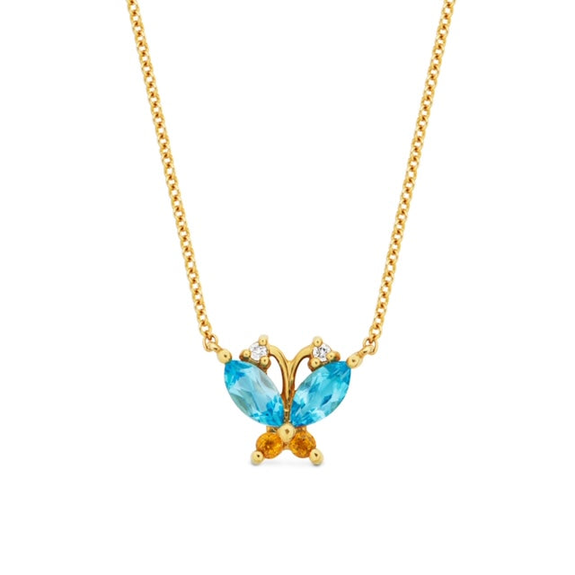 Volare Butterfly Blue Topaz and Citrine Necklace