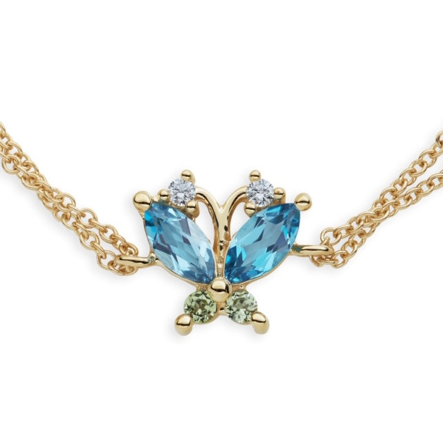 Volare Butterfly Blue Topaz and Peridot Bracelet