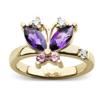 Large Volare Butterfly Amethyst, Pink Tourmaline and Diamond Gold Cocktail Ring