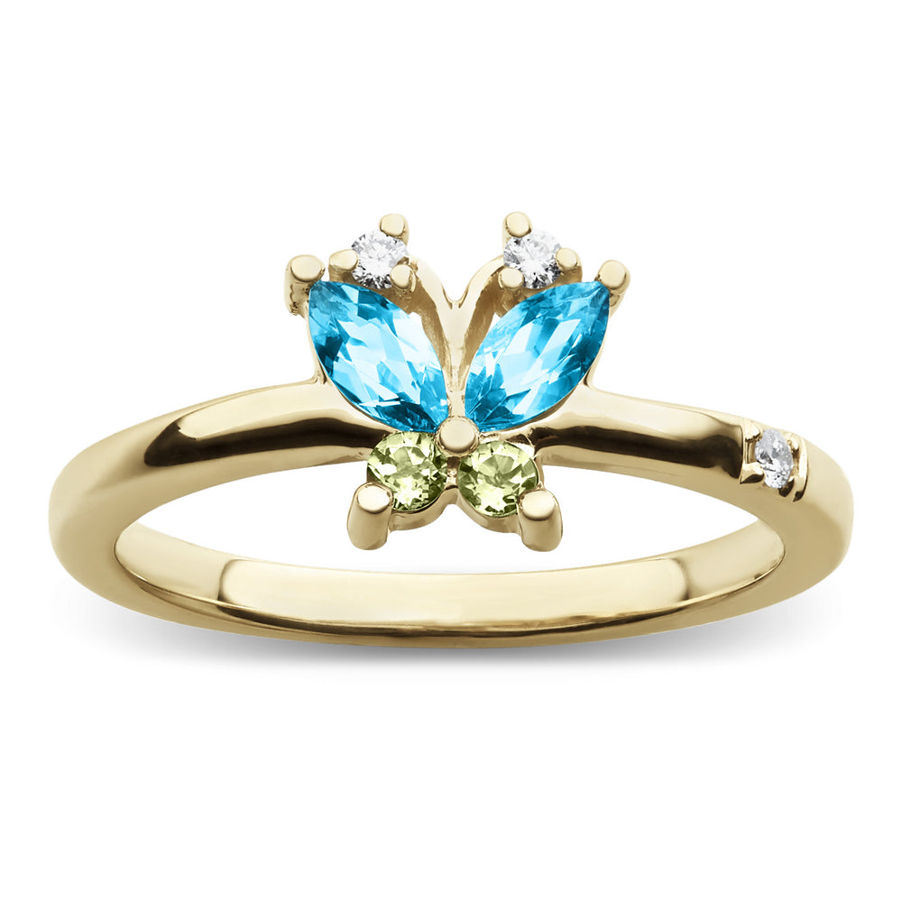 Volare Butterfly Blue Topaz and Peridot Ring