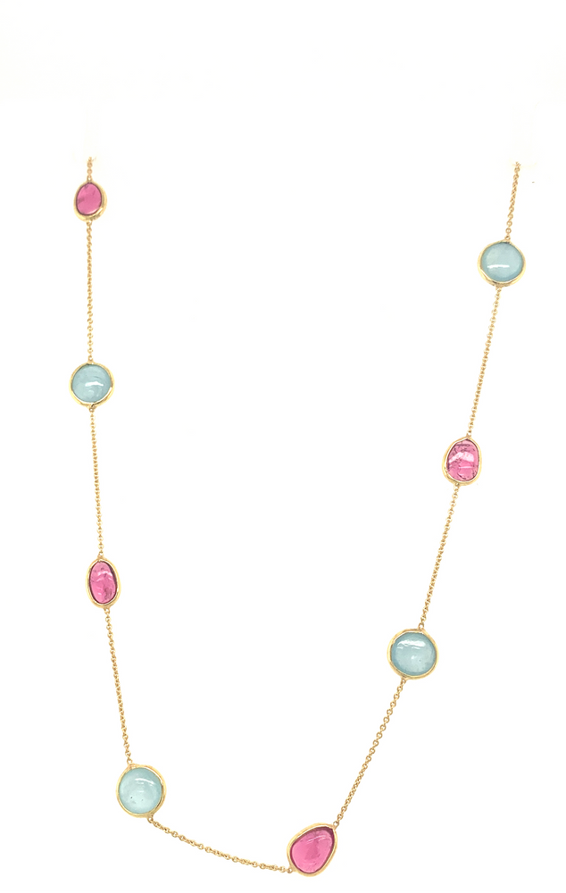 Aqua and Ruby Station Necklace