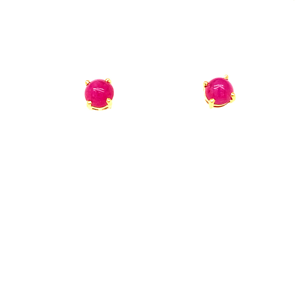 Ruby Cabochon Stud Earrings