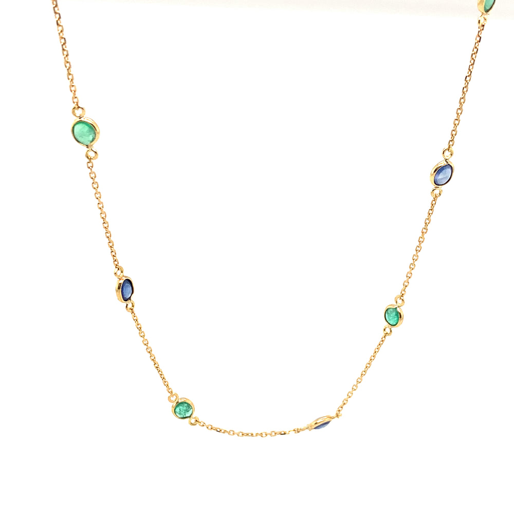 Blue Sapphire and Emerald Necklace