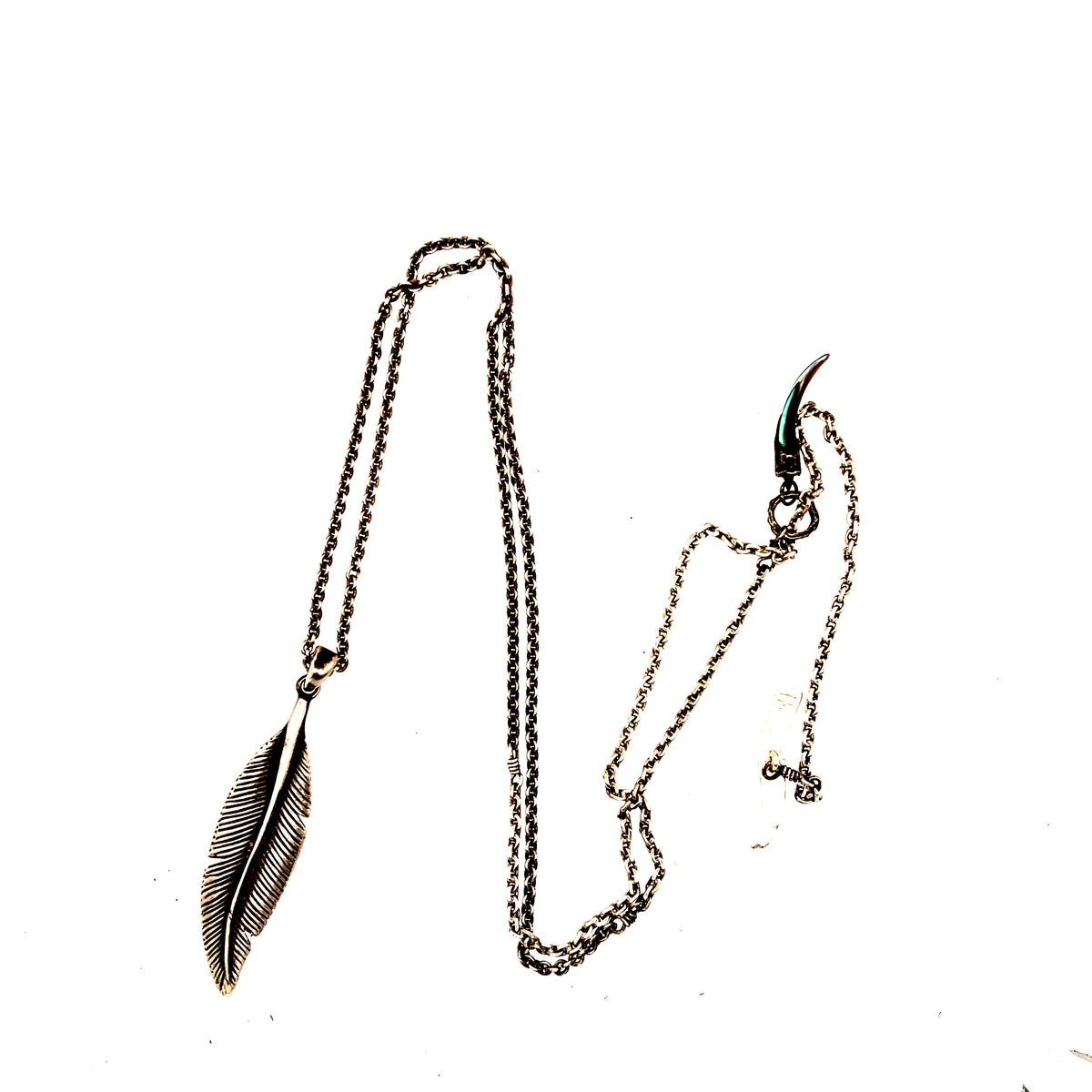 SS Feather Pendant Necklace