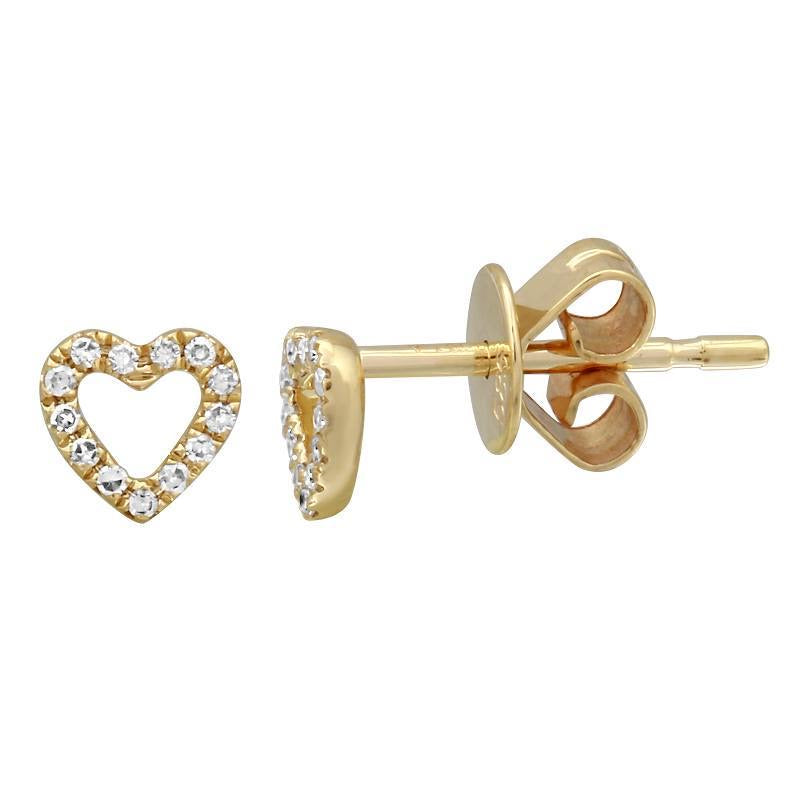 Cutout Diamond Heart Studs