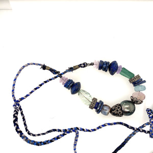 Tahitian Pearl, Lapis and Diamond Rondells Necklace