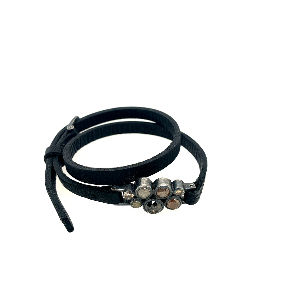 Sterling silver and diamonds leather bracelet