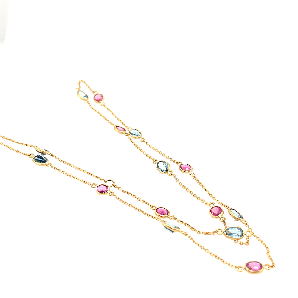 Aqua Ruby Station Necklace