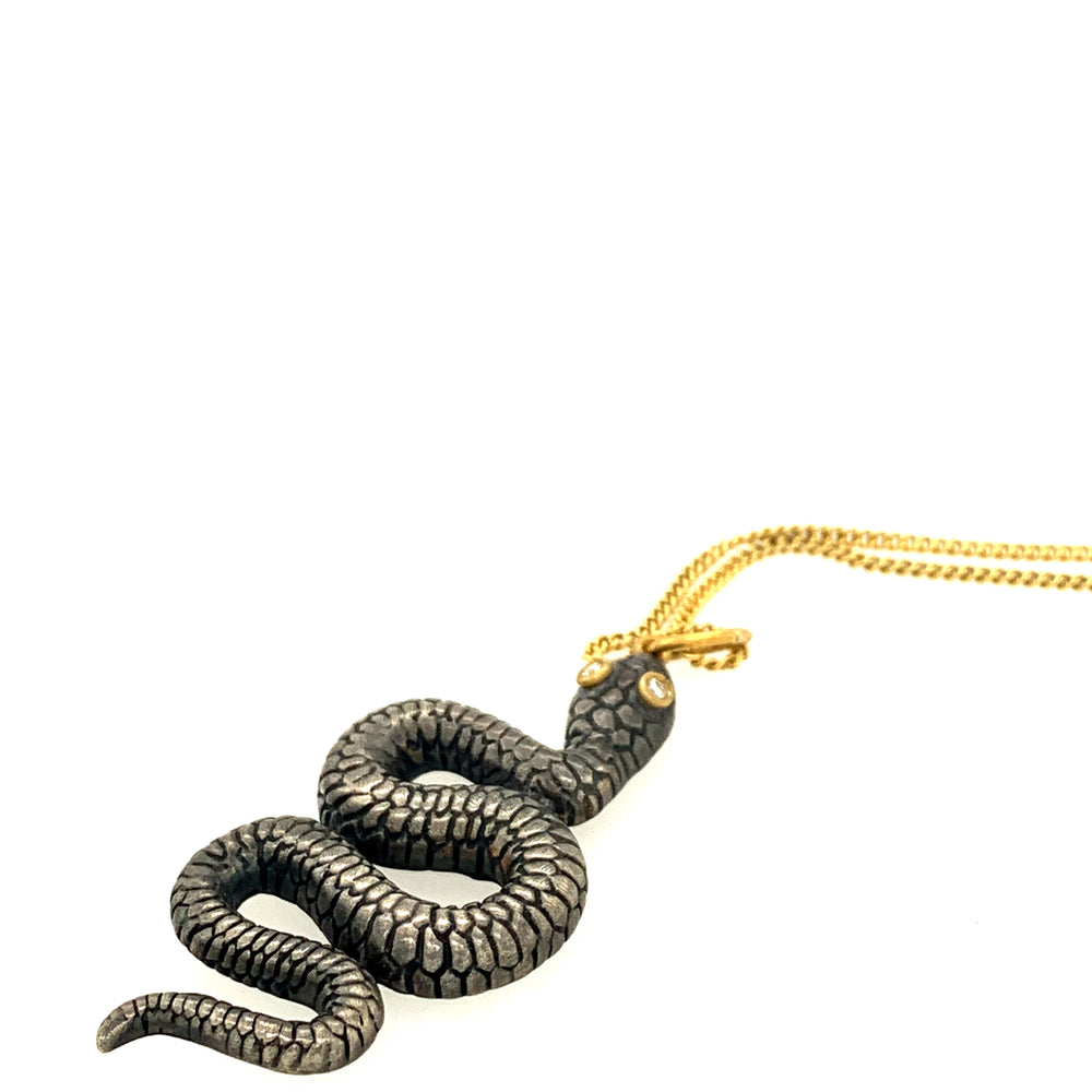 24k Gold Pendant with Diamond and Silver Mystic Serpent and Vermil Chain