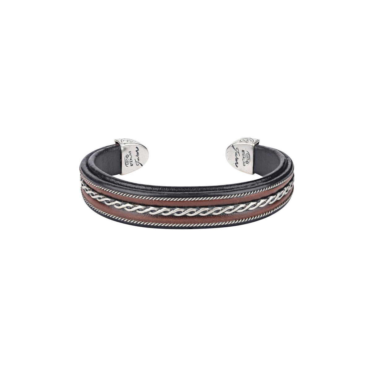 Leather and Sterling Silver Cuff