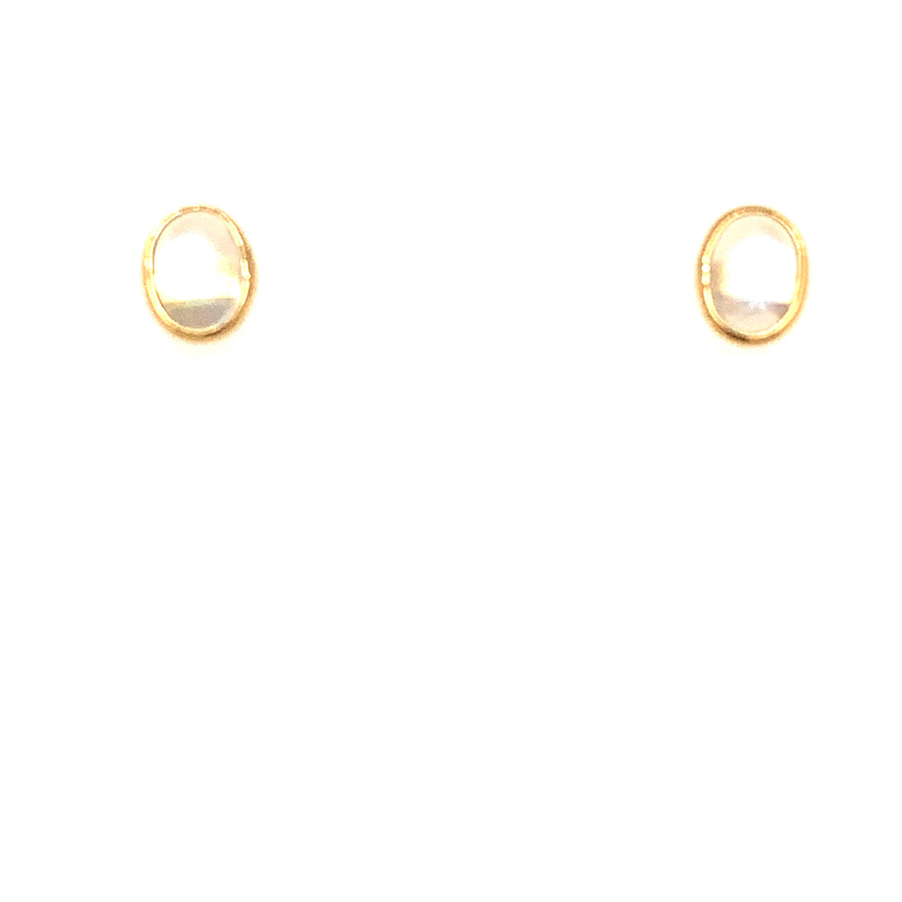 Rainbow Moonstone Oval Stud Earrings