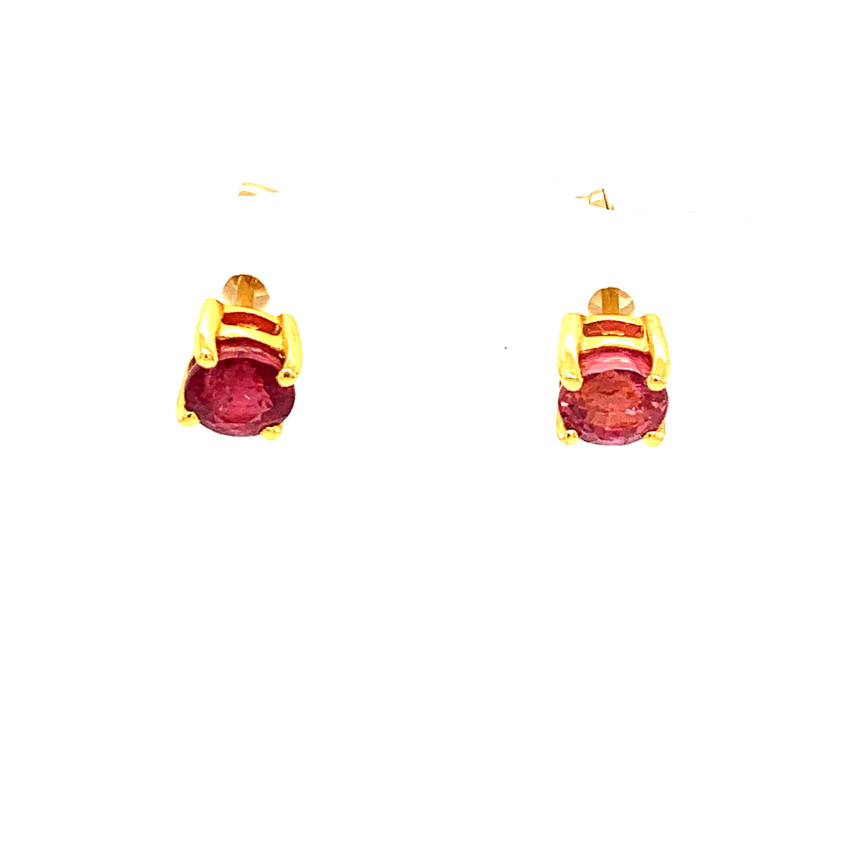 Ruby Oval Faceted Stud Earrings In 18K Yellow Gold
