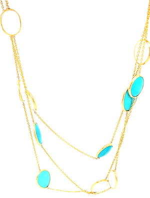 Turquoise & White Moonstone Long Necklace