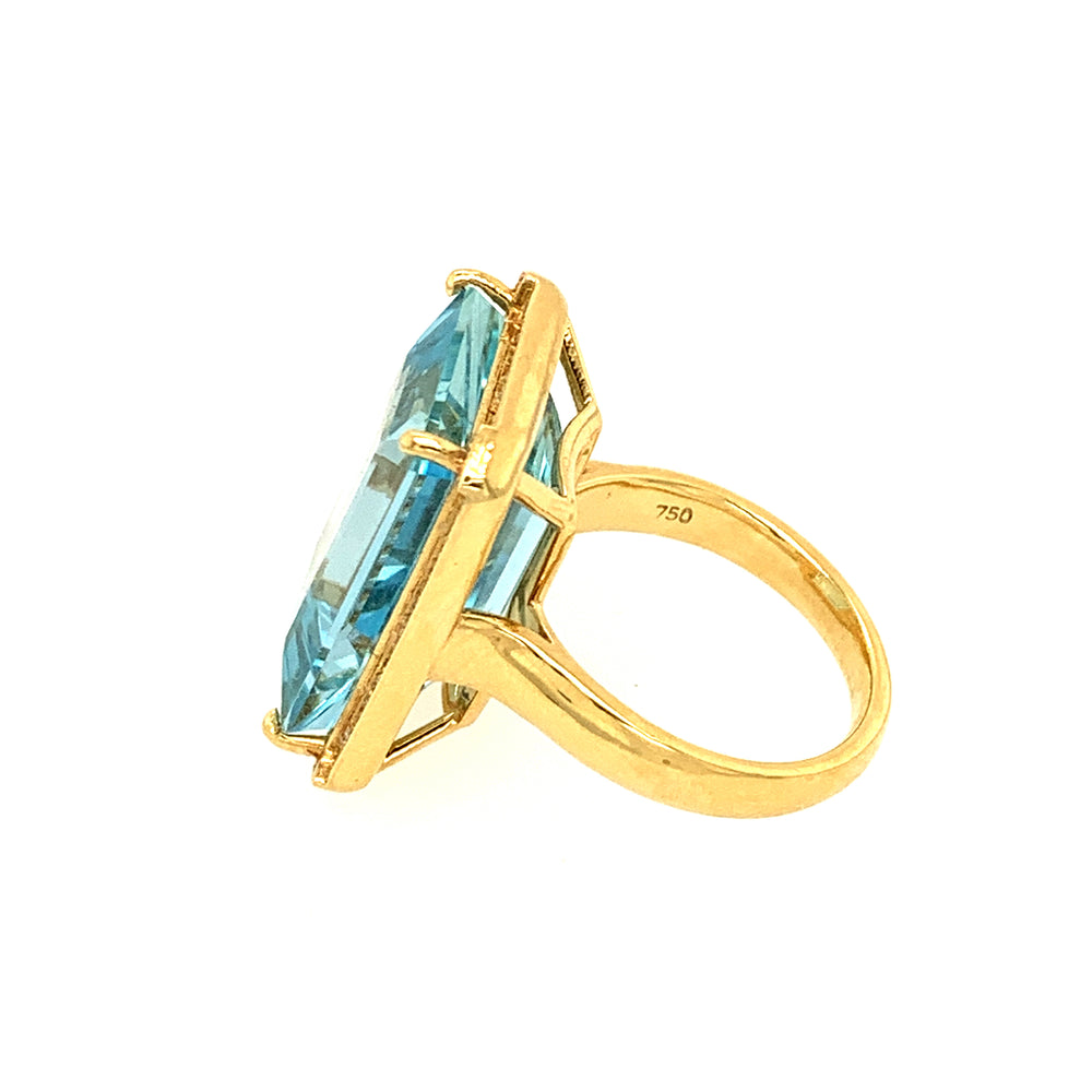 Large Rectangular Aquamarine Ring