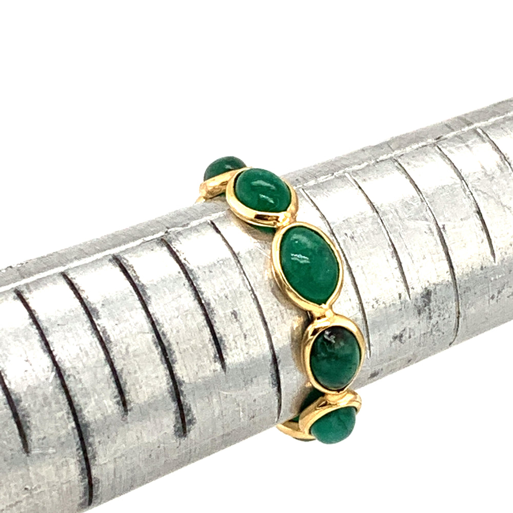 Emerald Stones Marquise Ring Band In 18k Yellow Gold