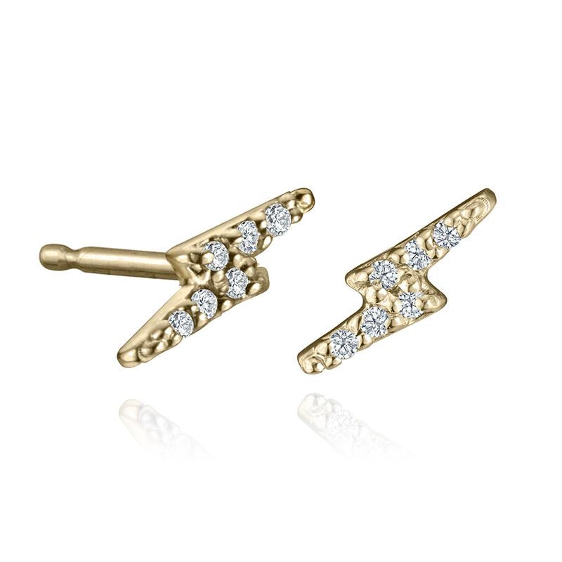 14k Lighting Bolt Stud with diamonds