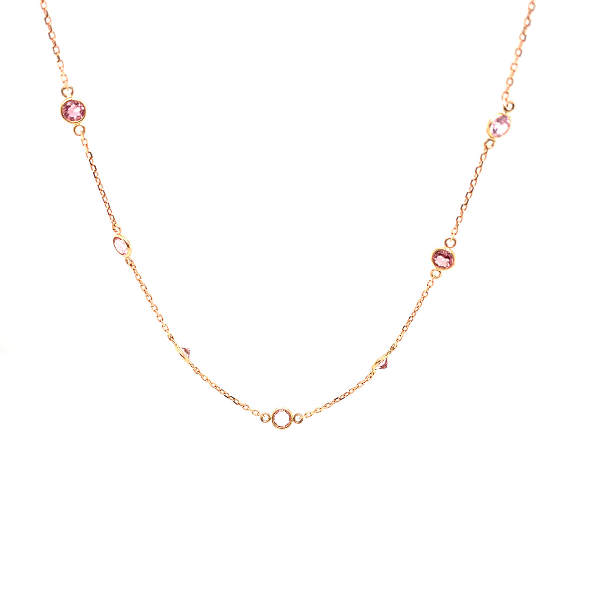 Pink Tourmaline Necklace In 18K Rose Gold