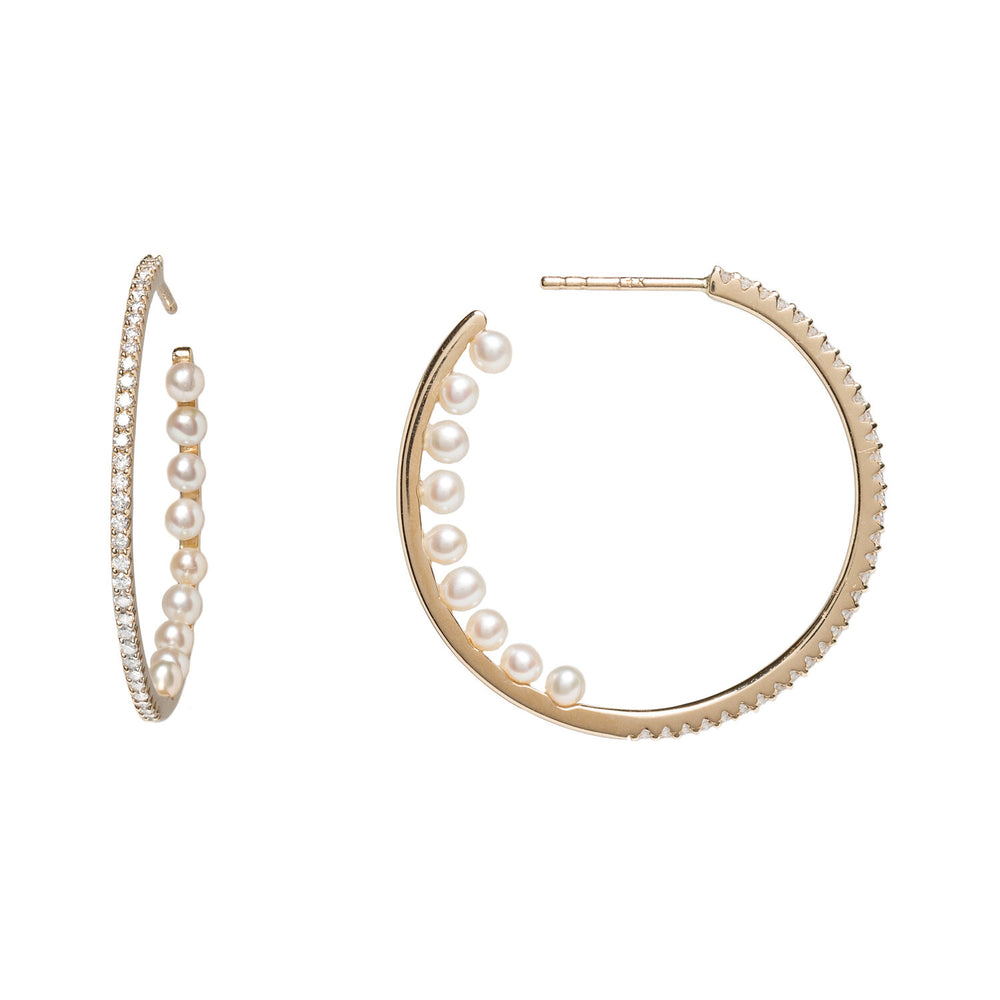1/2 Diamond & 1/2 Pearl Hoops