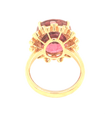 Rubellite Tourmaline with Diamond Ring