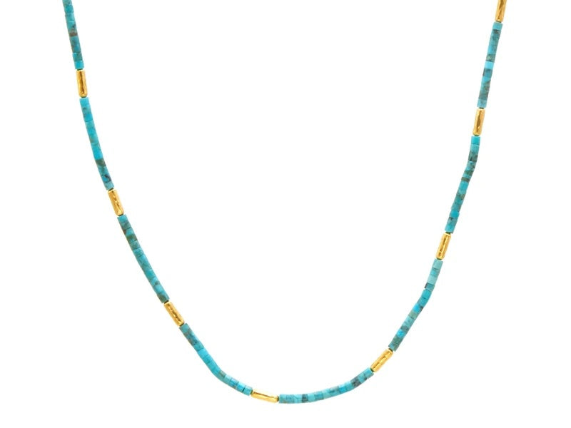 Turquoise Jet Set Gold Necklace, Short Beaded