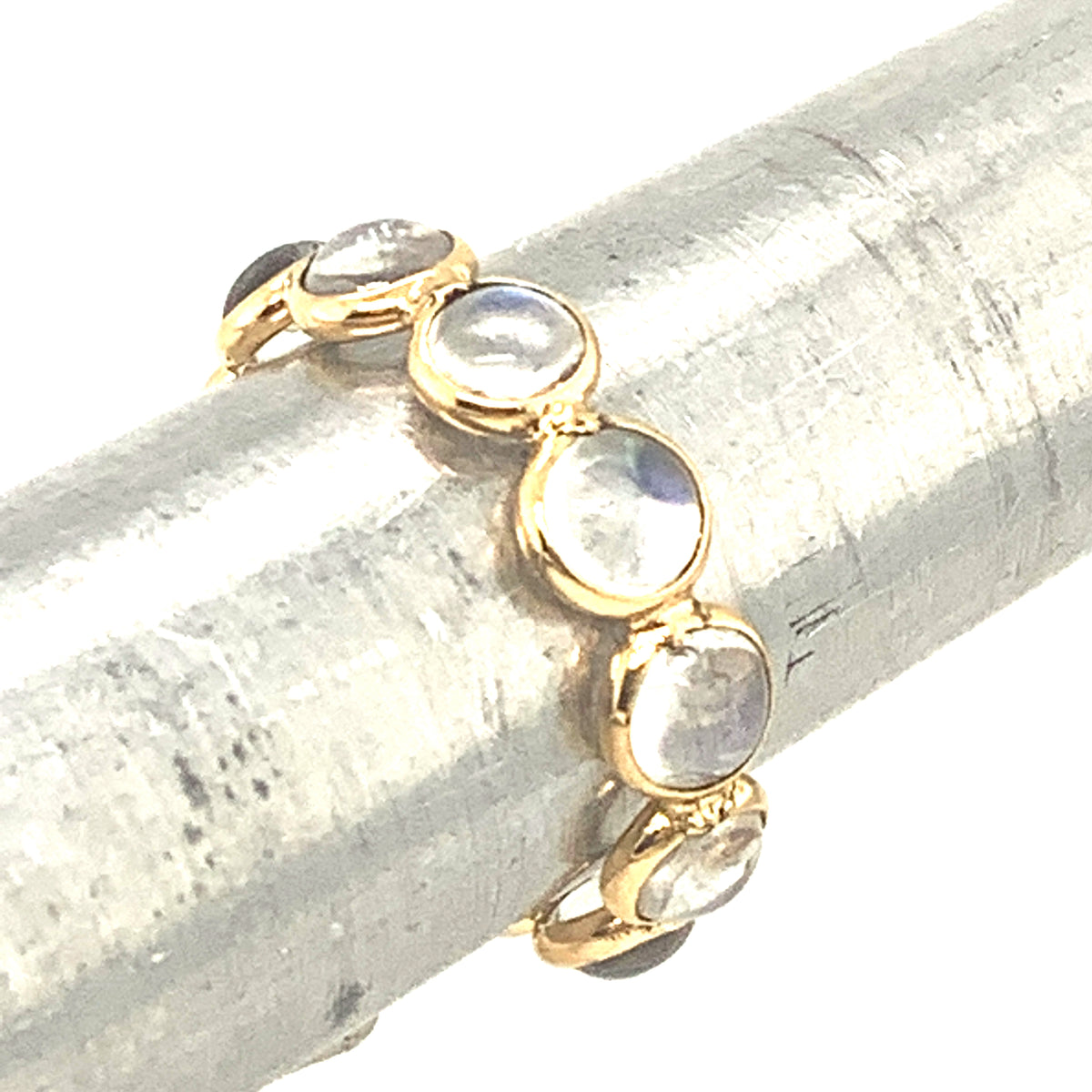 Rainbow Moonstone Stackable Round Cabachon Ring