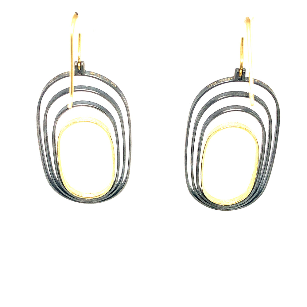 18k Yellow Gold And Silver Earrings